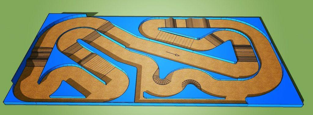 Vue 3D halle couverte, tracé définitif.